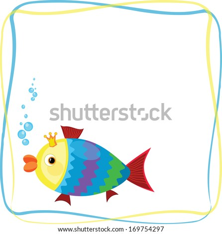 Frame with fish - stock vector