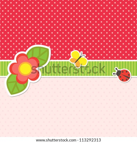 Frame with flower, butterfly and ladybug - stock vector