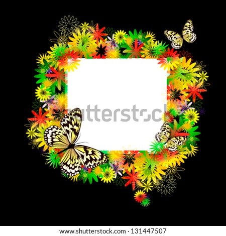 Frame with flowers and butterflies - stock vector
