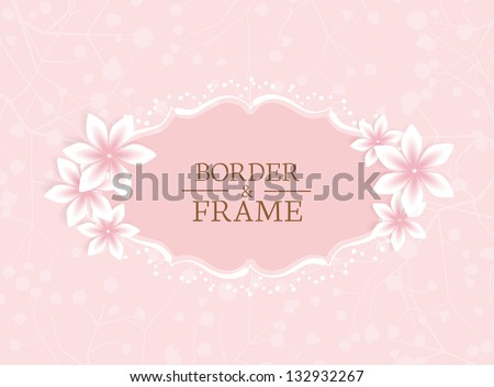 frame with flowers on a pink background - stock vector