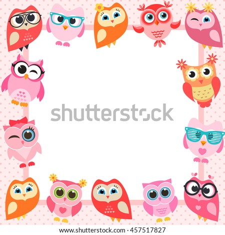 frame with funny owls - stock vector