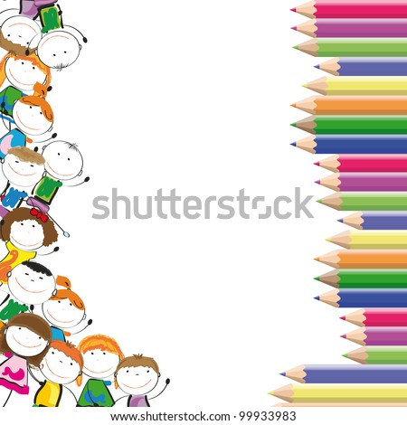 Frame with happy kids and colorful crayons - stock vector