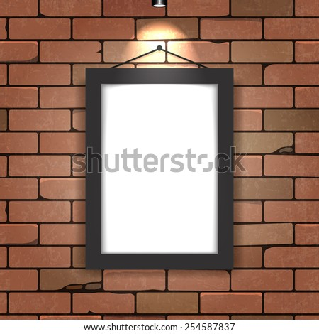 Frame with illumination on a brick wall. Vector illustration. - stock vector