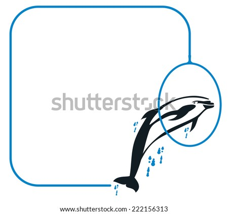 Frame with jumping  dolphin - stock vector