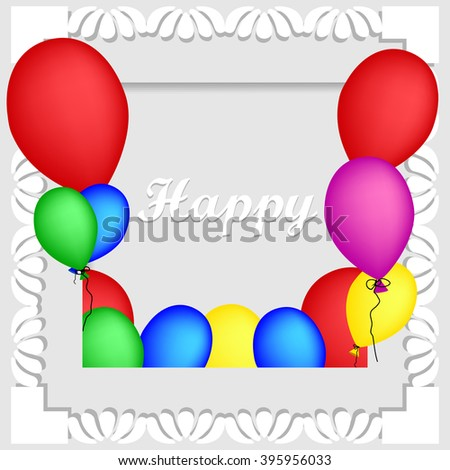 Frame with multicolored balloons. Balloons background. Invitation card. Vector illustration.  - stock vector