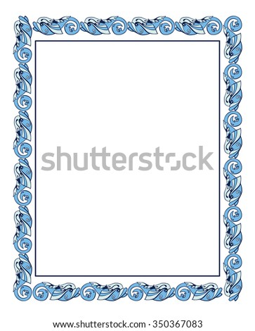 Frame with ornamental fish in medieval style - stock vector