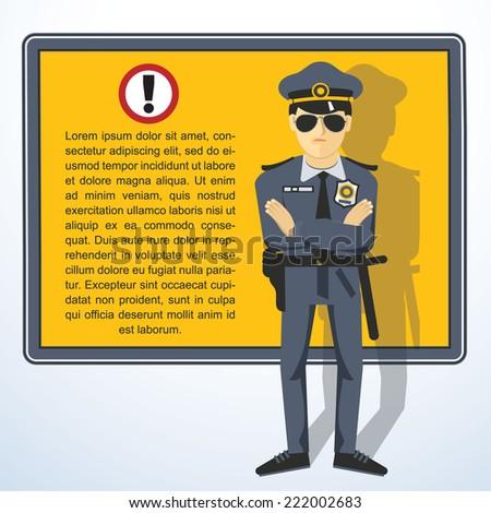 Frame with policeman. Vector presentation template.. - stock vector