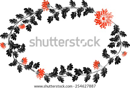 Frame with red flowers in the shape of an wreath. EPS10 vector illustration. - stock vector
