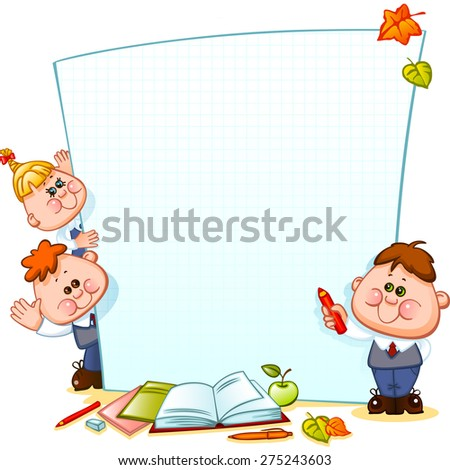 Frame with school children and school supplies. Space for text. Vector illustration - stock vector