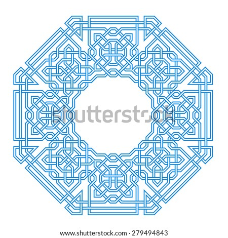 Frame with tangled modern pattern design elements, based on traditional oriental arabic patterns. Vector illustration. Plain colors - easy to recolor. - stock vector