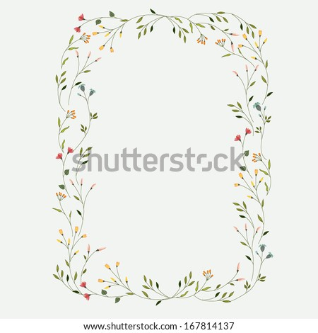 Frame with tiny flowers  - stock vector
