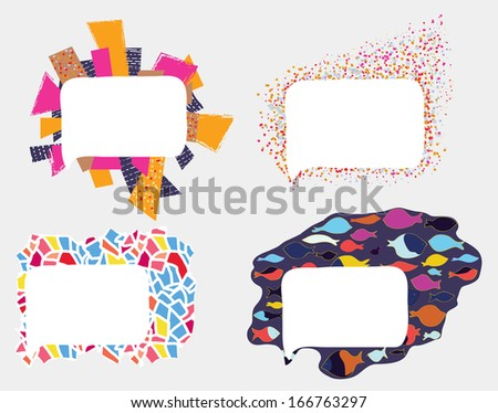 Frames and borders whimsical design set - stock vector