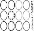 frames oval - set of vector illustration - stock vector