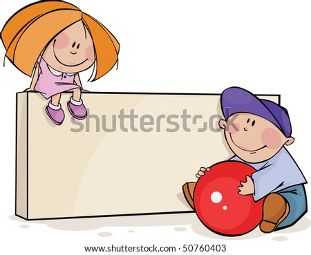 Framework with funny kids - stock vector