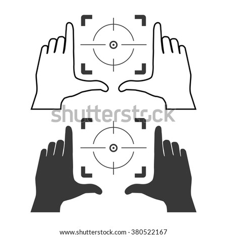 Framing hands aim to main object. This frame made from fingers of two hands. Simple template vector illustration. - stock vector