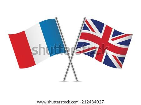 France and British flags. Vector illustration. - stock vector