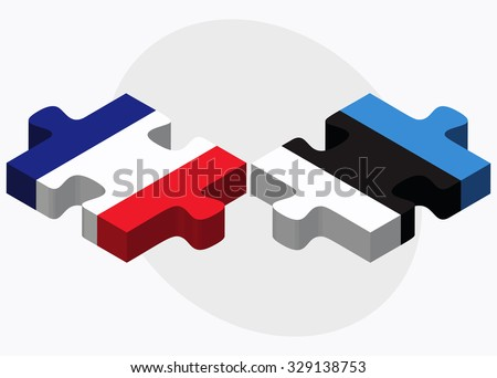 France and Estonia Flags in puzzle isolated on white background - stock vector