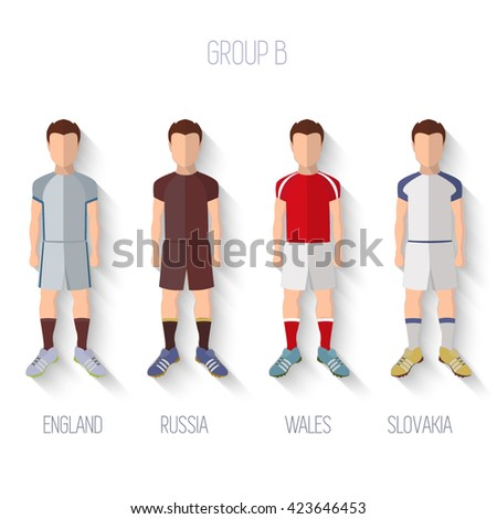 France EURO 2016 Championship Infographic Qualified Soccer Players GROUP B. Football Game Flat People Icon.Soccer / Football team players. Group B - England, Russia, Wales, Slovakia. Vector. - stock vector