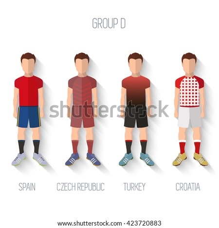France EURO 2016 Championship Infographic Qualified Soccer Players GROUP D. Football Game Flat People Icon.Soccer / Football team players. Group D - Spain, Czech Republic, Turkey, Croatia. Vector. - stock vector