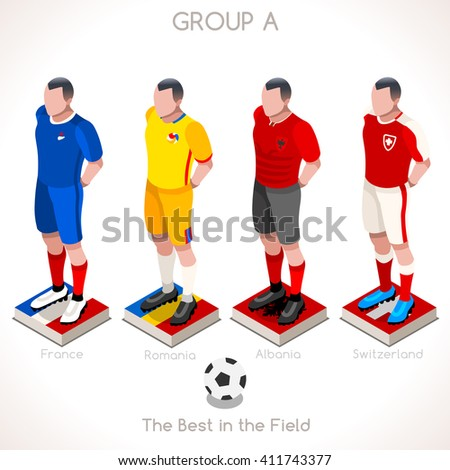 France EURO 2016.Soccer Group A Player Athletes.Vector France 2016 Match. EURO Championship Football Game.Soccer International Match Illustration. Soccer European Cup 2016 Group A Player Isometric - stock vector