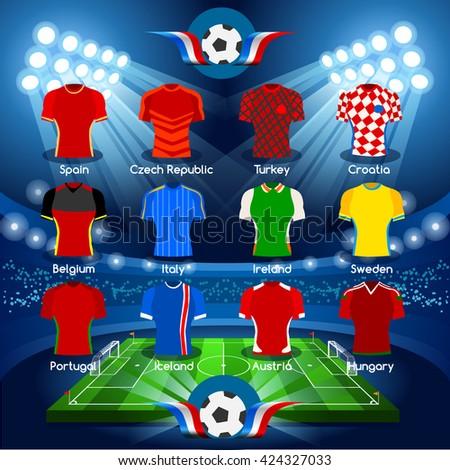 France EURO 2016.Soccer Jersey Apparel Player Athletes.Vector France 2016 Match. EURO Championship Football Game.Soccer International Match Illustration. Soccer European Cup 2016 Jersey Apparel Player - stock vector