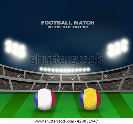 France flag and Romania flag on soccer ball on soccer stadium background , this design for soccer match of group A between France and Romania in France 2016  - stock vector