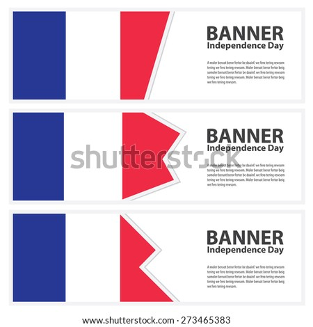 france Flag banners collection independence day - stock vector