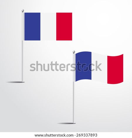 France flag normal and waving flag set | abstract flag vector eps 10 - stock vector