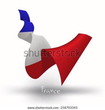 France flag, three dimensional render - stock vector