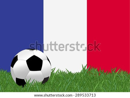 france flag with soccer ball in the yard , EPS10 - stock vector