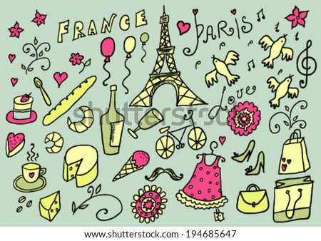 France Hand Drawn Color Set - stock vector