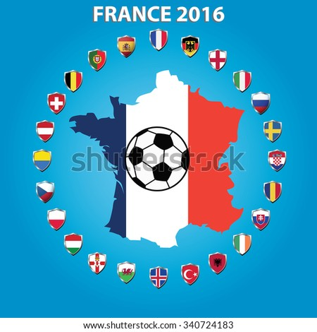 France 2016 , icons flags football teams member ,vector illustration - stock vector