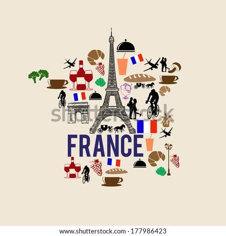 France landmark map silhouette icon on retro background, vector illustration - stock vector