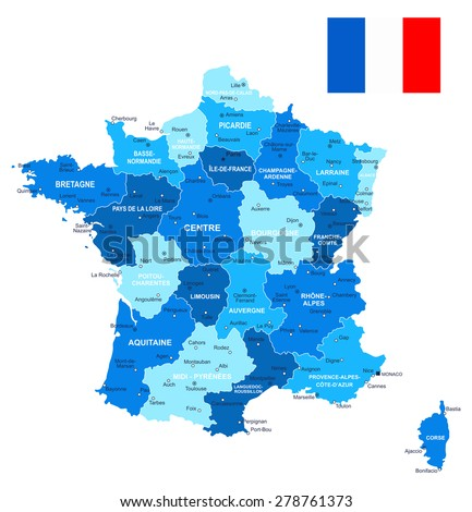 France map and flag - illustration  Image contains next layers: - land contours - country and land names - city names - water object names - flag  - stock vector