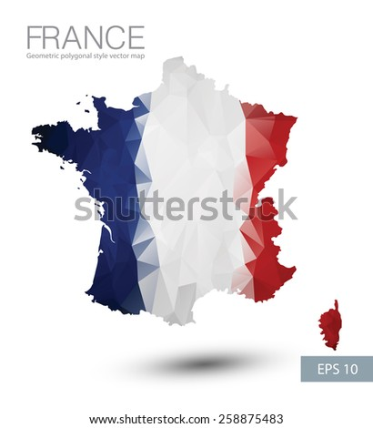 France map geometric polygonal design. France flag overlay on France map with geometric polygonal. - stock vector