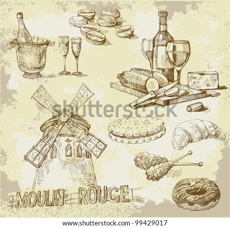 france-original hand drawn set - stock vector