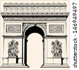 France - Paris - Arc de triomphe - Very detailed vector representation of an Hand drawing - stock vector