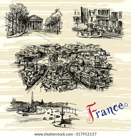 France - Paris, Nice - hand drawn collection - stock vector