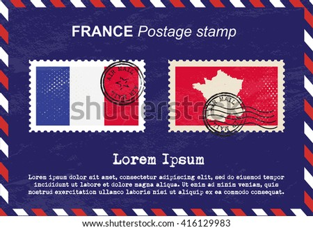 France postage stamp, postage stamp, vintage stamp, air mail envelope. - stock vector