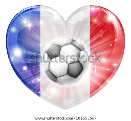 France soccer football ball flag love heart concept with the French flag in a heart shape and a soccer ball flying out  - stock vector