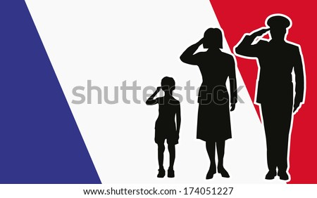 France soldier family salute - stock vector