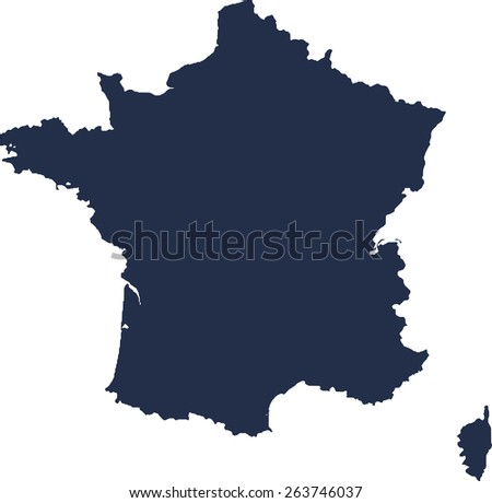 France Vector map. High detailed.  - stock vector
