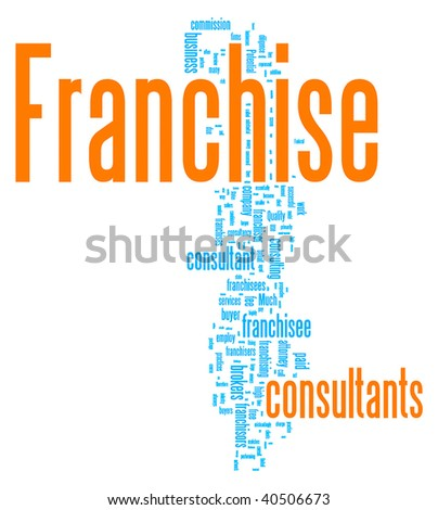 Franchise word cloud illustration. Graphic tag collection. - stock vector