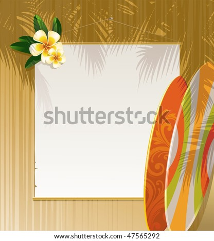 Frangipani flowers, surfboards and banner on a wooden wall - stock vector