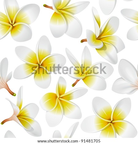 Frangipani (Plumeria) Tropical Flowers. Seamless Pattern Background. Vector Illustration - stock vector