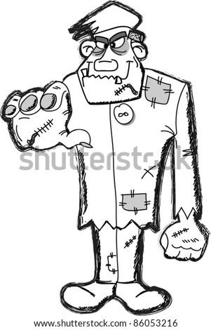 Frankenstein cartoon, happy Halloween - stock vector