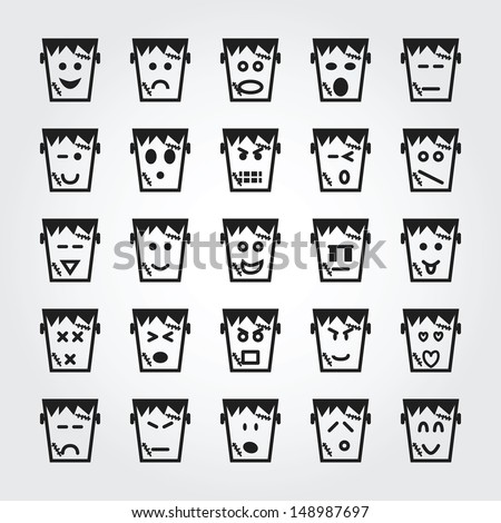 frankenstein face icons - stock vector