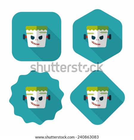 Frankenstein flat icon with long shadow, eps10 - stock vector