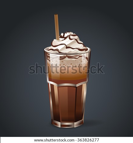 Frappe or irish coffee in glass with cream, chocolate and straw. Vector illustration. - stock vector