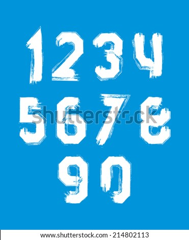 Freak white graffiti digits, set of vector unusual numbers drawn with real ink brush. - stock vector